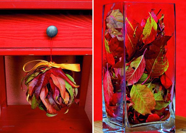 Dekoratívne symboly jesene – listy. Bez farbičiek maľujú, bez peňazí čarujú. Sila farieb jesennej prírody zaženie chmáry a privanie domov snivú atmosféru. (foto: Janetta Bublíková)