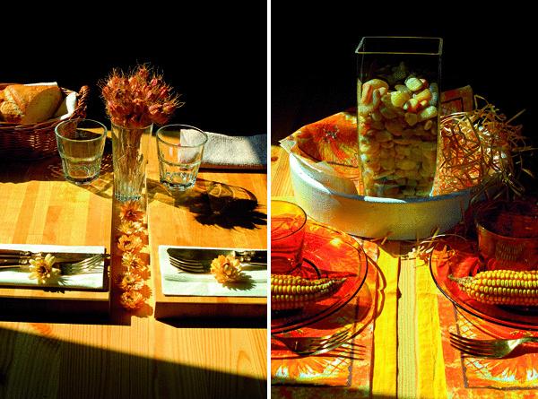 Jedálenský stôl svojím zdravým sedliackym rozumom využil slnečné farby jesene. Nech sa páči, k stolu. Obed s jesennou noblesou je pripravený. (foto: Janetta Bublíková)
