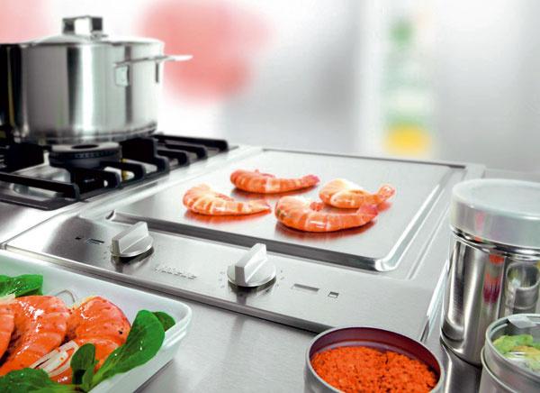 Nový rad programu CombiSet od firmy Miele ponúka dva barbecue grily, ktoré sa líšia rozmermi (šírka 28,8 alebo 38 cm). Majú dva navzájom oddelené regulovateľné výhrevné okruhy. Vprednej časti grilovacej plochy môžete pripravovať jedlo pri plnom výkone, zatiaľ čo zadná plocha sa používa na udržiavanie tepla. Ako príslušenstvo sa dodávajú obojstranné grilovacie platne shladkým avrúbkovaným povrchom. Cena od 1 038 €.