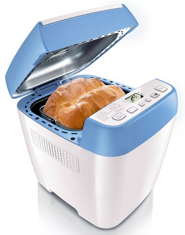 Domáca pekáreň chleba Philips HD9020 má 12predvolených programov na pečenie akéhokoľvek druhu chleba arýchle programy. Dokáže pripraviť aj cesto na cestoviny, pizzu, žemle, koláče či pečivo, ale aj uvariť džemy. Predvolené programy zabezpečia vhodnú teplotu ačas prípravy. Časovač sodložením štartu o13 hodín. Indikátor pridávania prísad (orechy, sušené ovocie, olivy, syry), tri veľkosti chleba (500 g, 750 g a1 kg), tri úrovne intenzity opečenia kôrky. Odporúčaná cena 99,99 €.