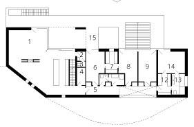 Pôdorys 1. poschodia 1 – otvorený obytný priestor skuchyňou 2 – predsieň WC 3 – WC 4 – špajza 5 – chodba 6 – detská izba 7 – šatník 8 – detská izba 9 – herňa 10 – WC 11 – kúpeľňa 12 – šatník 13 – kúpeľňa 14 – spálňa 15 – terasa