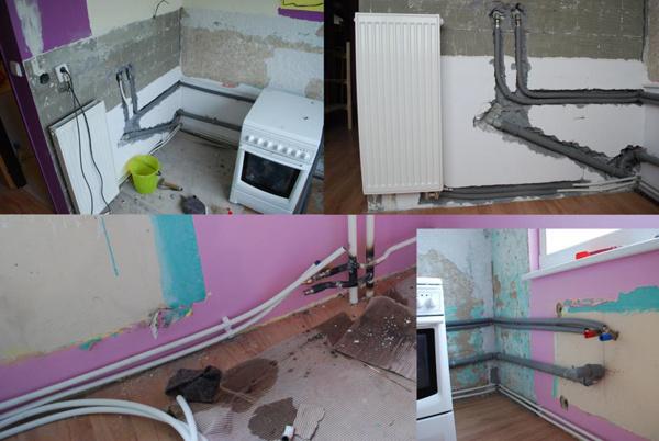 Kuchyňa počas prestavby 2010. Prestavba rozvodov a preloženie výhrevného telesa.