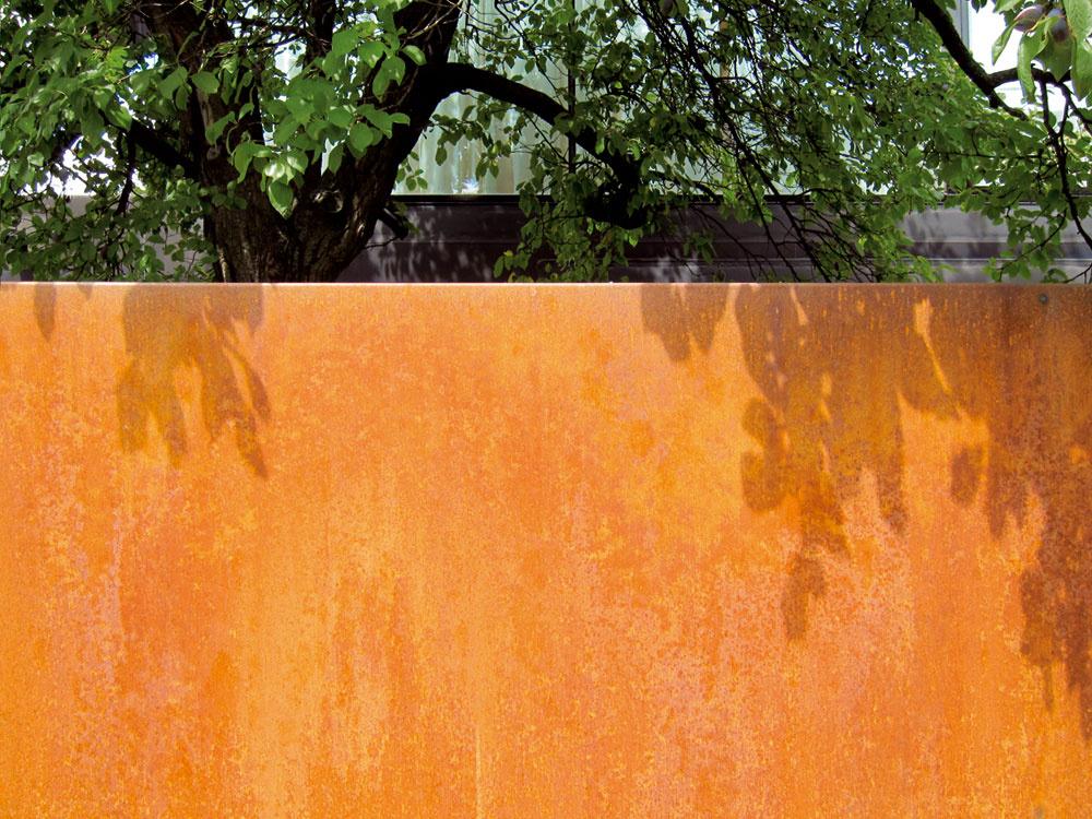 Stará slivka vedľa plota chráni súkromie spálne avytvára tieň aj príjemnú kulisu južnej terase pri kuchyni.