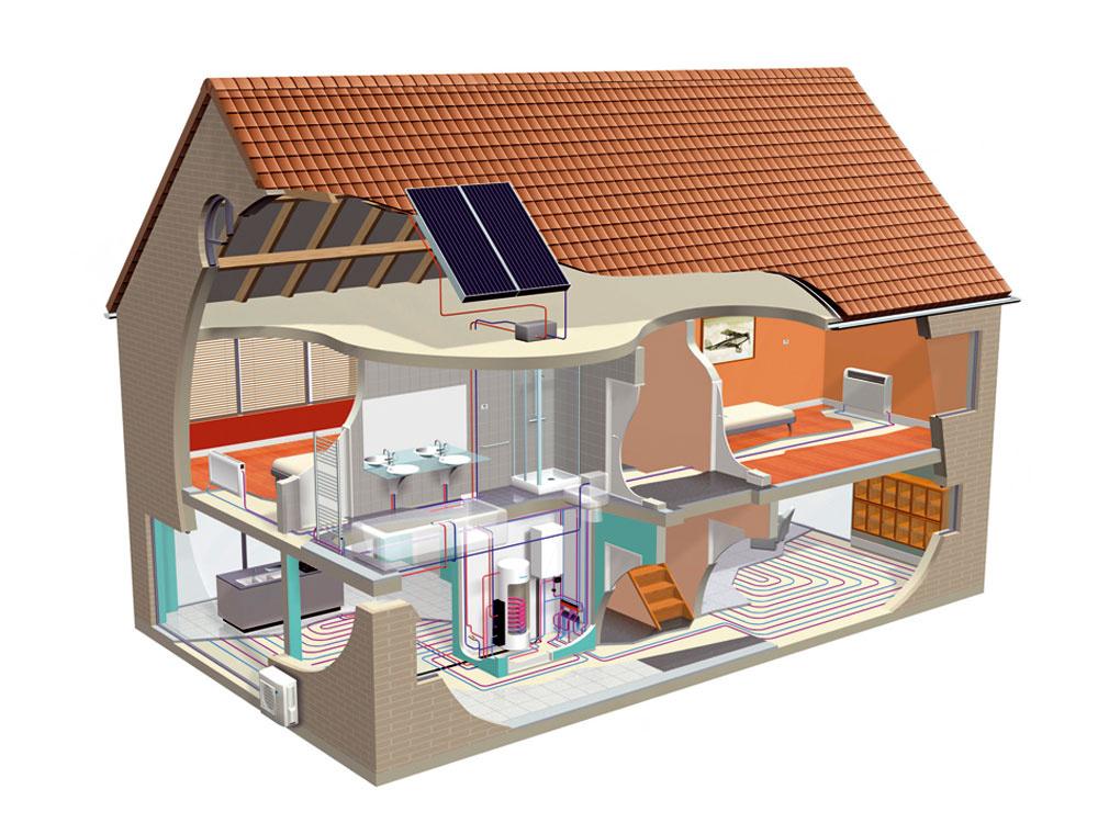 Daikin Altherma, nízkoteplotný splitový systém vzduch/voda, funguje tak, že vonkajšia jednotka získava teplo zvonkajšieho vzduchu. Toto teplo sa cez chladivové potrubie prenesie do vnútornej jednotky. Vnútorná jednotka ohrieva vodu na kúrenie aumývanie, teplotu vody však môže aj znižovať azabezpečovať chladenie. Na podporu vykurovania sa dá využiť aj solárny systém, vyžaduje si to ale dôslednú technicko-ekonomickú optimalizáciu, pretože vzime majú slnečné kolektory podstatne nižší výkon. Plnohodnotnou náhradou radiátora môže byť parapetný ventilátorový konvektor. Okrem kúrenia môže aj chladiť avkombinácii stepelným čerpadlom prináša zvýšenie účinnosti vykurovacieho systému až o25 %.