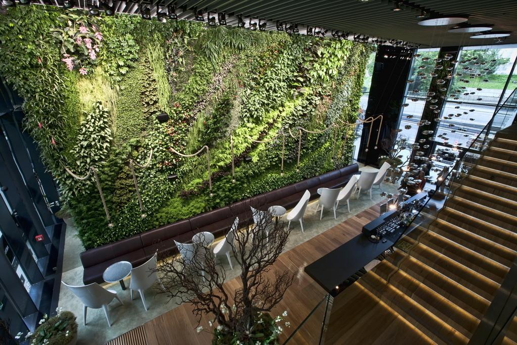 J&T BANKA Café, Bratislava - V záhrade je použitých viac ako 2 900 rastlín a 66 druhov. Rastú do rôznych výšok, čím sa mení celkový charakter a vzhľad steny. Zaujímavo pôsobia predovšetkým vzácne druhy orchideí pochádzajúce z najexotickejších miest sveta.