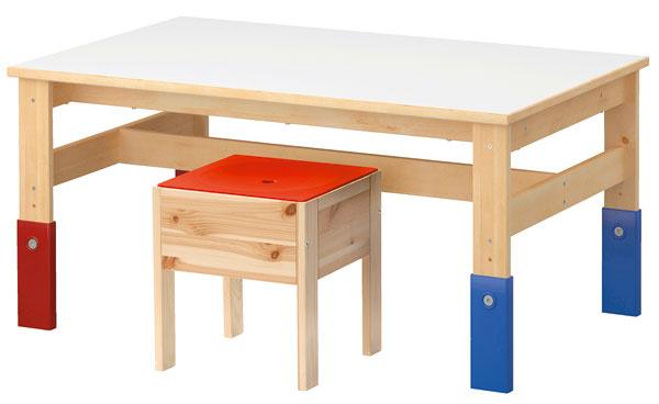 Stolík astolička Sansad zmasívnej borovice ošetrenej priehľadným akrylovým lakom, vrchná doska zdrevotriesky avysokotlakového laminátu, nohy zpolypropylénového plastu. Výškovo nastaviteľný vtroch stupňoch, rastie svaším dieťaťom. Rozmery: 100×60 cm, výška 48/60 cm. Cena 39,99 €. Stolička súložným priestorom pod sedadlom, vďaka otvoru na sedadle zároveň slúži ako terč na triafanie do cieľa. Rozmery:30 × 30 cm, výška 34 cm. Cena 14,99 €. Predáva IKEA.