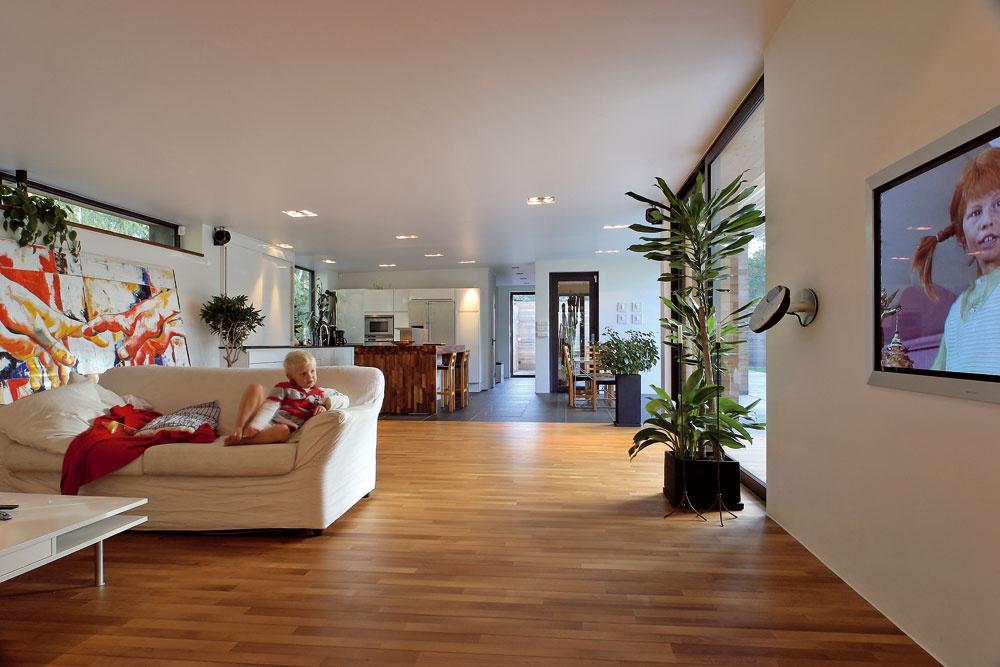 Vrozľahlom obývacom priestore nevystupuje do popredia biely nábytok, dominujú mu rastliny. Vpopredí vpravo dracéna (Dracaena fragrans), jedna zrastlín, na ktorú večer dopadá bodové svetlo. (Za identifikáciu ďakujeme pani Anne Číbovej; www.zreuz.eu)