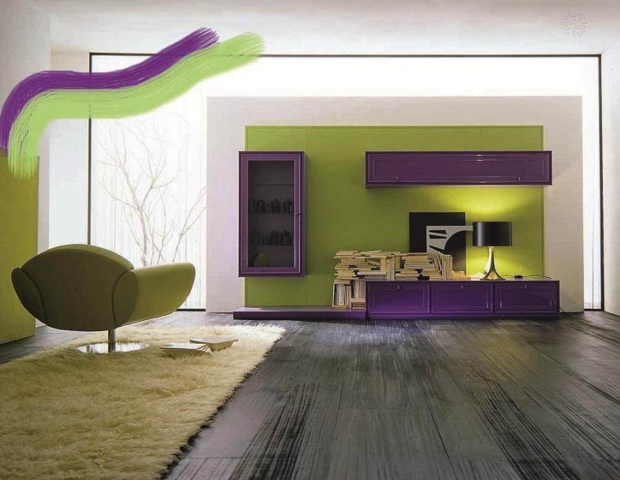Fialová dominuje… Farebné preonačenie, ako sme nazvali rekonštrukciu monochromatického priestoru, nemusí ihneď znamenať tisícky farebných odtieňov vo všetkých uhloch pohľadu. Občas stačí jedna stena, ktorá sa v zásade stane dominantou izbového interiéru.