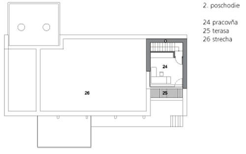 2. poschodie  24 pracovňa  25 terasa 26 strecha