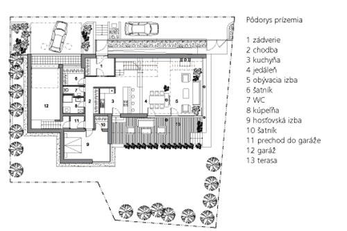 Pôdorys prízemia  1 zádverie 2 chodba 3 kuchyňa 4 jedáleň 5 obývacia izba 6 šatník 7 WC 8 kúpeľňa 9 hosťovská izba 10 šatník 11 prechod do garáže 12 garáž 13 terasa
