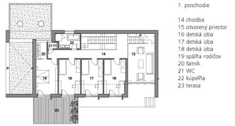 1. poschodie  14 chodba 15 otvorený priestor 16 detská izba 17 detská izba 18 detská izba 19 spálňa rodičov 20 šatník 21 WC 22 kúpeľňa 23 terasa