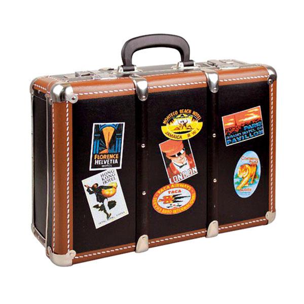 Tí, ktorí majú radi nostalgiu, si určite obľúbia kufor snálepkami rozličných hotelov zlepenky, ktorý môže slúžiť na uskladnenie osobných spomienkových pokladov či fotografií. Rozmery 41 × 32 × 15 cm. Cena 23,40 €, predáva www.vilavilocka.sk.