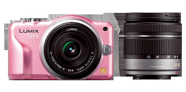 Kompaktný fotoaparát Panasonic Lumix GF3 svýmennými objektívmi je dostupný vpiatich farbách, má ľahkú hliníkovú konštrukciu, atak nezaťaží ani ženskú kabelku. Na výber máte zponuky výmenných objektívov pre každú fotografickú príležitosť, navyše GF3 obstojí aj ako videokamera. Odporúčaná maloobchodná cena od 399 € podľa typu objektívu/objektívov.