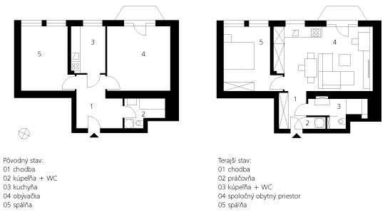 Pôvodný stav: 01 – chodba 02 – kúpeľňa + WC 03 – kuchyňa 04 – obývačka 05 – spálňa  Terajší stav: 01 – chodba 02 – práčovňa 03 – kúpeľňa + WC 04 – spoločný obytný priestor 05 – spálňa