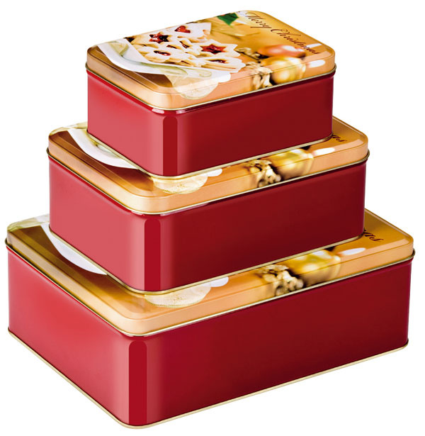 Škatuľky Merry Christmas na uskladnenie vianočného pečiva. Nevhodné do umývačky. Cena 11,30 €/3 ks.