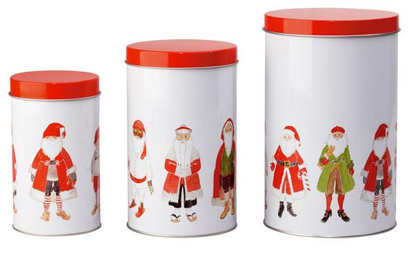 Súprava plechových dóz svrchnákmi Snödriva – Santa Claus na vianočné pečivo. Cena 5,99 €/3 ks. Predáva IKEA.
