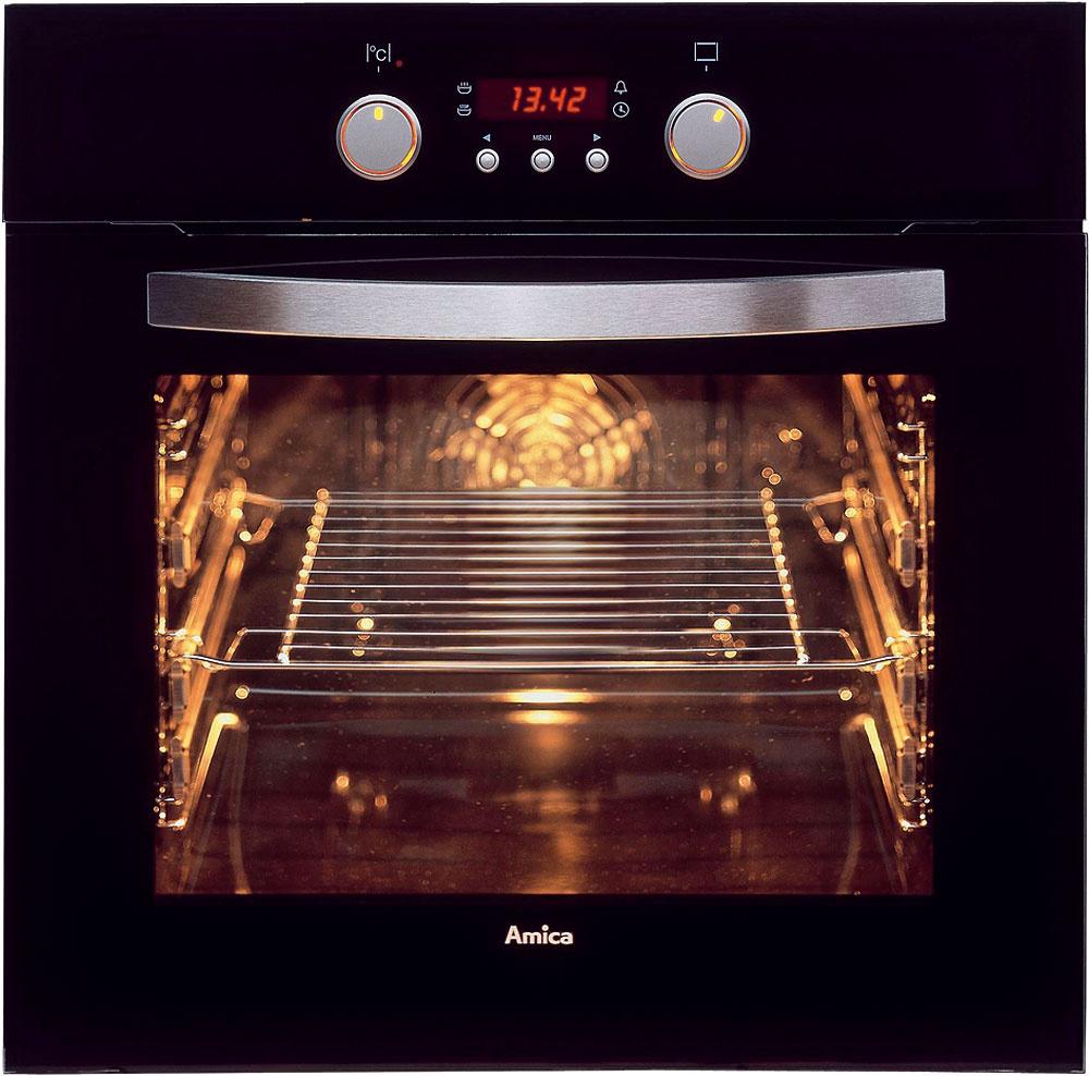 Samostatná vstavaná rúra Amica EBB 7442 Prestige Black venergetickej triede A. 8 funkcií, cirkulácia vzduchu, rýchly ohrev (150 °C za 4 minúty a30sekúnd), ochladzovací systém, sklopný gril, teleskopické výsuvy, Easy clean – jednoduché čistenie, trojité sklo dverí – bezpečná teplota vonkajšieho skla. Cena 359 €. Predáva Okay Elektro.