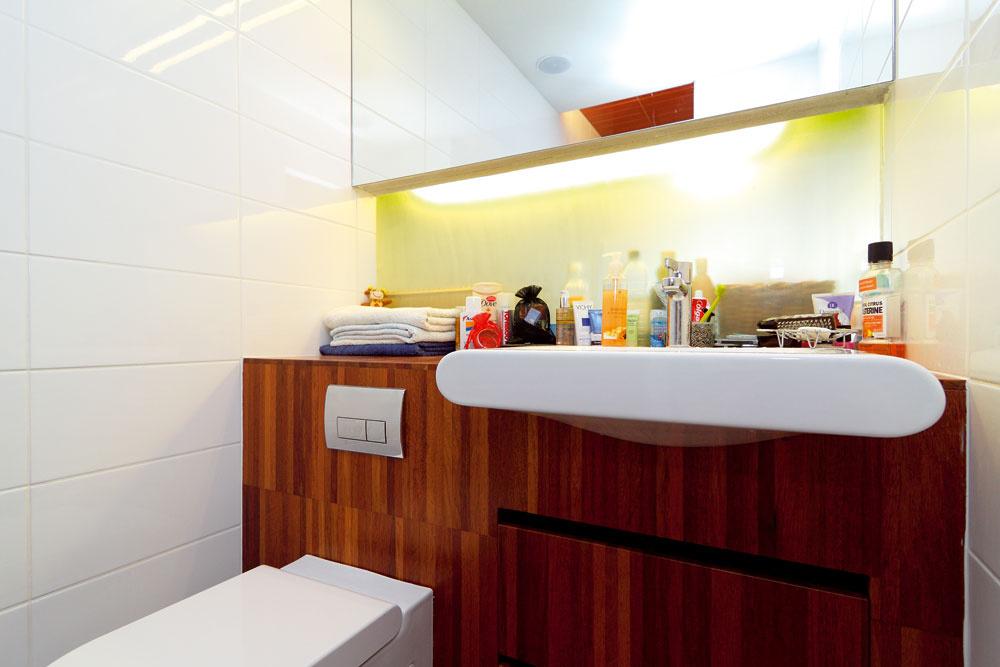 Časť priečky nad pracovnou doskou, ktorá do susediacej kúpeľne vpúšťa svetlo zo spoločenskej zóny. Sklenené dvere vmnohom prospeli nielen kúpeľni, ale aj úzkej chodbe.