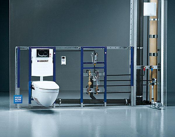 Predstenové inštalačné systémy  Toto praktické avsúčasných kúpeľniach hojne využívané riešenie pozostáva znosných montážnych prvkov (konštrukcií), na ktoré sa upevňujú zariaďovacie predmety (závesné WC, bidet, pisoár aumývadlo) azpripravených úchytov na osadenie prípojok vody akanalizácie. Vďaka predstenovým systémom je montáž zariaďovacích predmetov jednoduchšia apresnejšia, zjednoduší sa aj inštalácia rozvodov. Navyše, steny tak nie sú oslabené drážkami azníži sa prenos hluku zpotrubia do konštrukcie stavby. Prvky predstenových inštalácií môžu byť určené na zamurovanie do masívnej konštrukcie alebo sú súčasťou systému ľahkej sadrokartónovej konštrukcie.