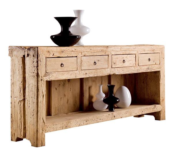 Konzolová skrinka Nature Design so štyrmi zásuvkami je vyrobená zprímorského brestového dreva sminimálnym zásahom drevoobrábacích strojov. Rozmery:š200× h 45 × v94cm. Cena2278,80€. PredávaErmar.