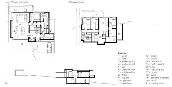 Legenda: 1 – vstup 2 – hala 3 – jedálenský kút 4 – kuchynský kút 5 – WC 6 – obývacia zóna 7 – spálňa rodičov 8 – šatňa 9 – kúpeľňa 10 – pracovňa 11 – práčovňa 12 – terasa 13 – balkón 14 – detská izba 15 – herňa (spodná obývačka) 16 – hosťovská izba 17 – pivnica 18 – sklad 19 – obslužná miestnosť 20 – sauna 21 – príručný sklad  Pôdorys poschodia   Pôdorys prízemia