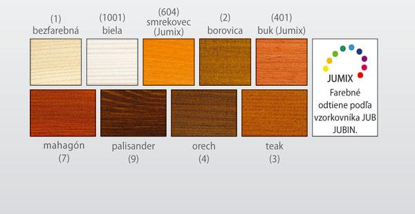 Farebná škála 9 hotových farebných odtieňov (odtiene majú informatívny charakter): 1. bezfarebná, 2. biela, 3. borovica, 4.dub, 5. mahagón, 6.tík,7. palisander, 8.orech, 9. eben