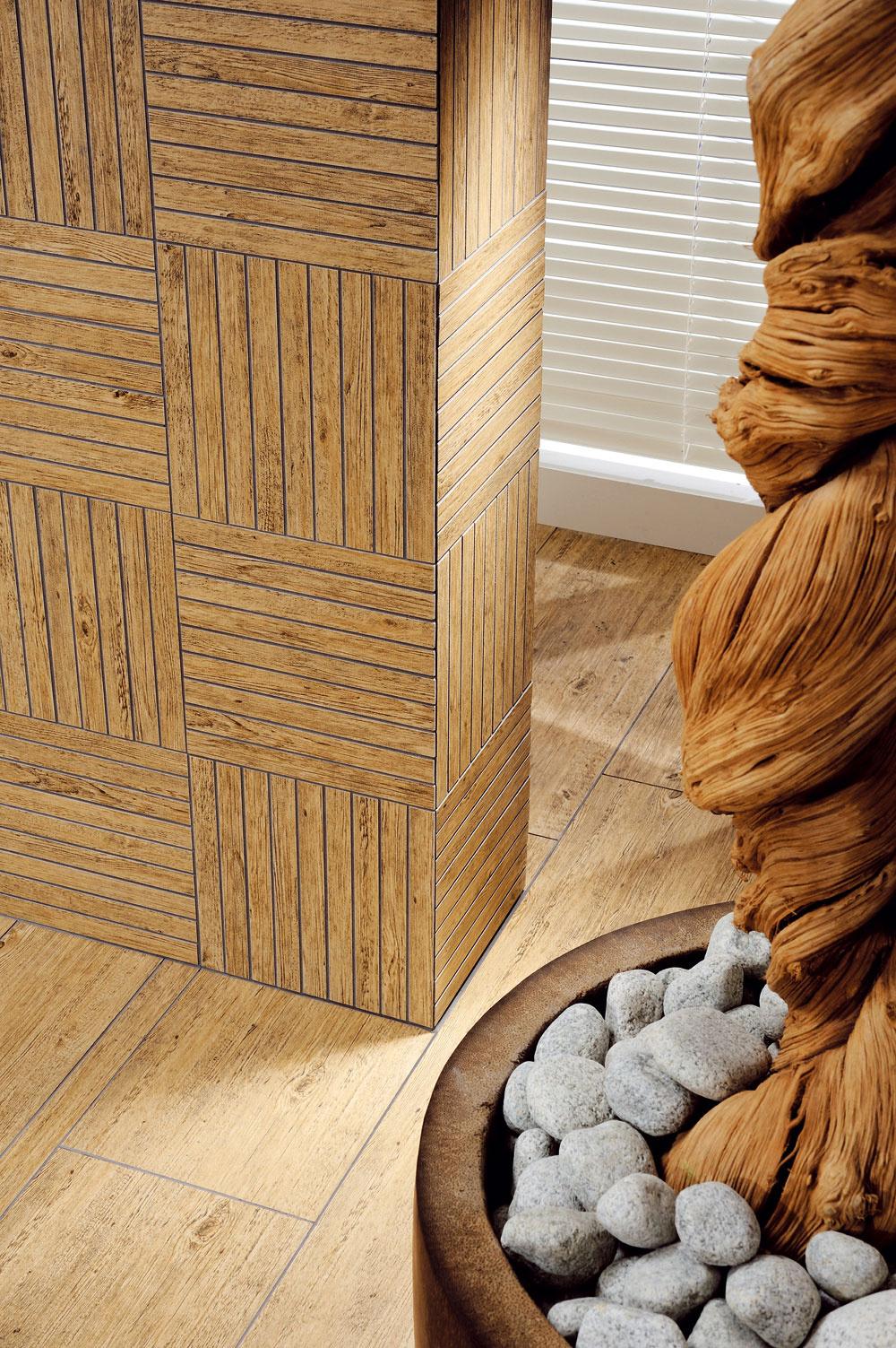 Na stenách narysované drevené puzzle ju premenilo na útulnú wellness oázu pre telo aj dušu. Zaklopte si na drevo, v súčasnosti sú jeho možnosti neobmedzené a kreativite sa medze nekladú. (foto: RAKO)