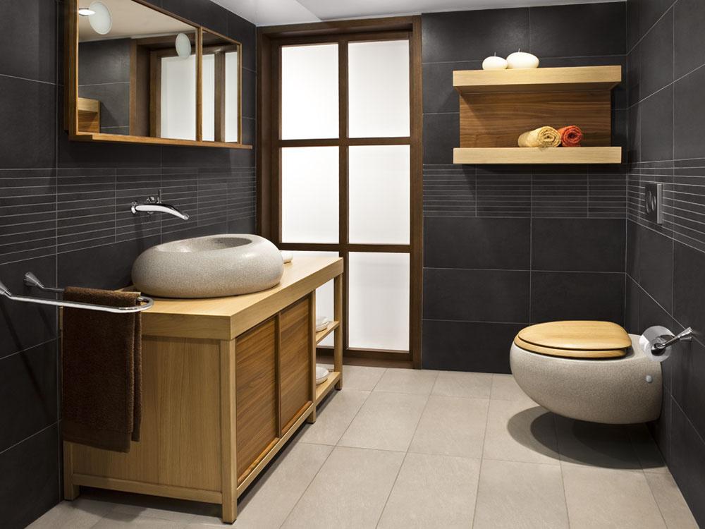 Symbióza tradična s modernou, kde tradičným sa stáva keramika, kým drevo preberá úlohu moderny. Kúsky kúpeľňového nábytku svojím zamatovým povrchom opticky zohrejú akokoľvek chladný a tmavý priestor. (foto: thinkstock.com)