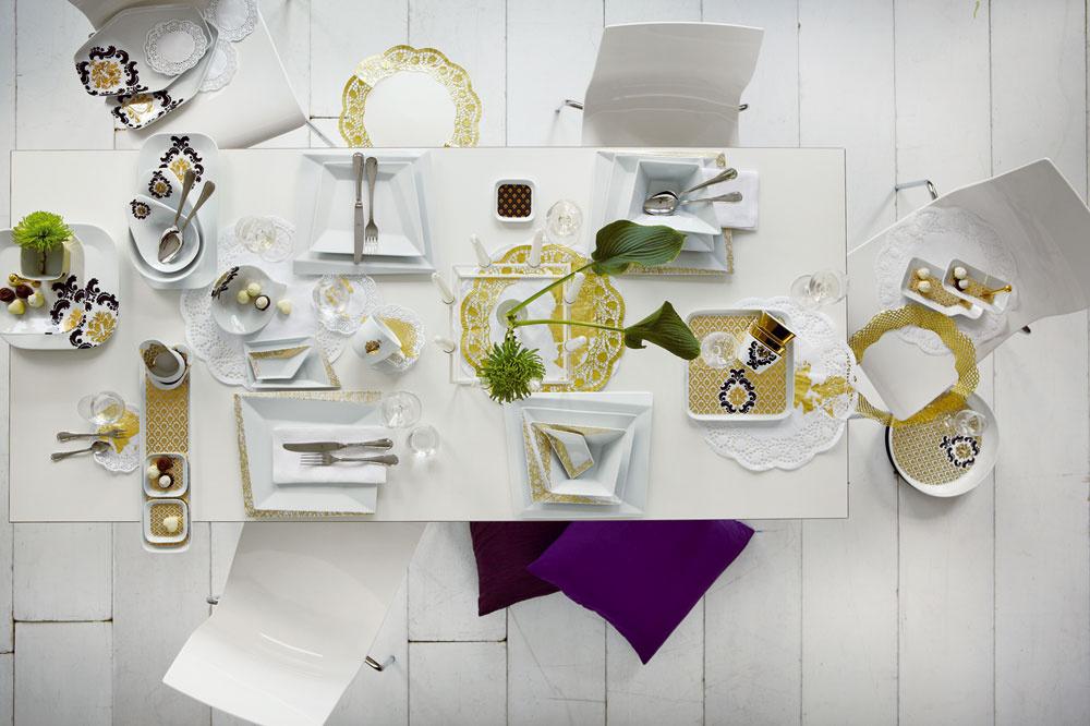 Svetové reštaurácie stavili na prestieranie ako od babičky. Vmóde je klasický porcelán sozdobnou potlačou vnetypických tvaroch. Súprava porcelánu Kahla Opus, cena 51,59 €, predáva Nábytok Galan.