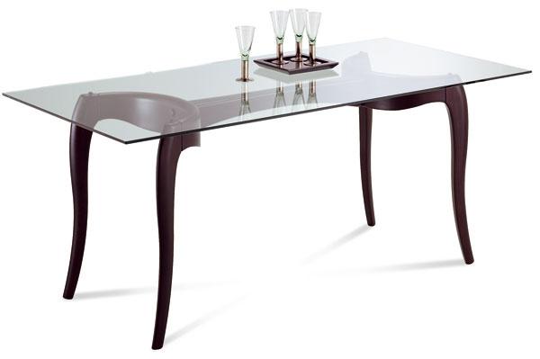 Exkluzívny stôl vretrodizajne Antares. Podnož stola je drevená, morená na wenge alebo môže byť lakovaná čiernym či bielym lakom svysokým leskom. Tabuľa stola je ztransparentného skla sfazetovým okrajom, cena 717,25 €, predáva www.italiastyle.sk.