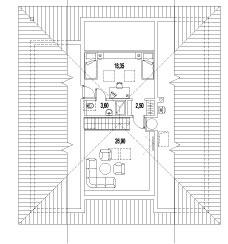 Pôdorys podkrovia Vpodkroví nájdete dve izby. Jedna je otvorená do schodiska avdome je zatiaľ využívaná ako televízna miestnosť. Druhá izba má samostatnú kúpeľňu aje určená pre hostí. (ARD Projekt)