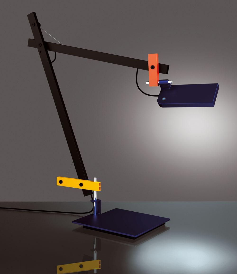 Značka Artemide sa pustila do sériovej výroby geometricky komponovanej stolnej lampy Lotek sLED zdrojom. Dizajn Javiera Mariscala pripomína farebnosťou aštýlom medzivojnovú školu Bauhaus.(výroba: Artemide)