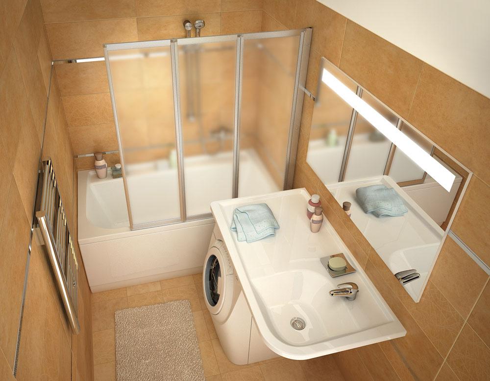 Nielen centimetre, ale aj požiadavky majiteľa, jeho životný štýl či počet členov domácnosti sú podstatné pri hľadaní odpovede na túto hamletovskú otázku. Ak sa neviete rozhodnúť, môžete zvoliť vaňu so zástenou na sprchovanie. Pri úvahách, kam s práčkou, môže napomôcť umývadlo Praktik W. (foto: RAVAK)