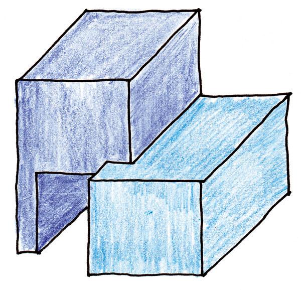 C. Ak zvýrazníme varnú časť vysnutím, veľký objem kobky sa dostane do pozadia ajej účinok sa utlmí. Zveľkého objemu pečúcej časti bol vybratý priestor na uloženie dreva. Kubusy varnej časti apečúcej časti sú do seba akoby zahryznuté vo vzájomnom prieniku. Tu už nastala dynamika pohybu aprieniku dvoch hmôt.