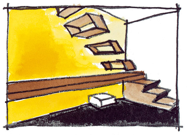 Zriedkavosťou nie je ani podschodiskové umiestnenie domáceho pracovného kútika či stola. Mimoriadne dobre vyzerá, ak použijete samonosné stupne votknuté zjednej strany do steny ana stenu zakomponujete stolovú dosku. Stupne schodiska vznášajúce sa vpriestore vlastne ani ako schodisko nepôsobia, zobytnej plochy uberú len málo ana pohľad sú fascinujúce. Je však nutné zaistiť ich bezpečnosť. Použite ich najmä vtedy, ak vedú do menej využívaných priestorov adomácnosť neobývajú malé deti.