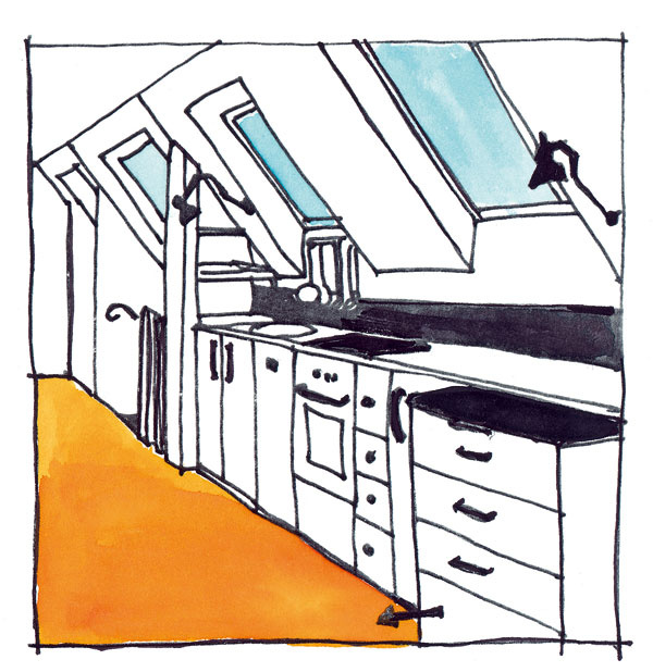 Priestor pri nadmurovke je prirodzene predurčený na umiestnenie súvislého radu skriniek sposuvnými alebo otočnými dvierkami, prípadne zásuviek či políc. Horné čelá zásuviek by nemali byť vo výške viac ako 120 cm (ťažko sa vnich udržiava poriadok). Nie je vylúčené ani umiestnenie šatníkového vešania, treba však rátať stým, že nízke vešanie vyžaduje približne 105 cm avysoké vešanie minimálne 130 cm. Vhodnejšie je, ak sa skriňa svešaním nachádza na stene kolmej na pomúrnicu apri pomúrnici sa umiestnia iba police azásuvky.
