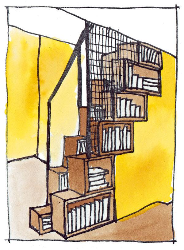 """Asi najčastejšie sa stretneme skumulovanou funkciou police na knihy aschodiska. Výška knižnice môže byť odstupňovaná tak, že jej hornú časť tvorí schodisko alebo jednotlivé stupne schodiska prechádzajú plynulo do políc na knihy. Existuje viacero materiálových akonštrukčných variantov – od postupne naukladaných skriniek vtvare úsporného """"mlynárskeho"""" schodiska (ktorým je nutné vychádzať vždy rovnakou nohou na rovnaký stupeň) cez betónový monolit sarchitektonicky stvárnenými otvormi na knihy až po špeciálnu kovovú či drevenú konštrukciu, ktorá plní nielen funkciu schodiska aknižnice, ale aj odkladacieho stolíka či posedenia. Originálne vyzerá vyplnenie celého podschodiskového priestoru domácou vínotékou na mieru."""