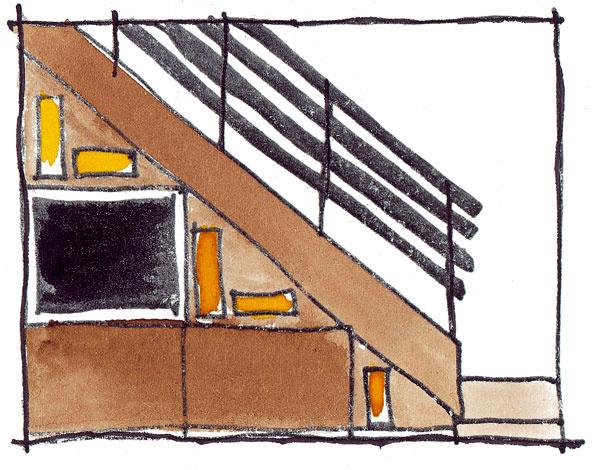 Ako na otvorený priestor pod schodiskom a podkrovie