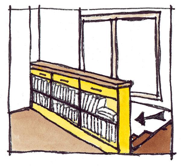 Nielen priestor pod schodiskom, ale aj priestor určený na zábradlie môže byť využitý – vďaka malej požadovanej hĺbke (približne 20 až 25 cm) je to najčastejšie opäť knižnica, ktorá – otočená smerom od schodov, napríklad na galérii alebo vhornej časti chodby – tvorí zároveň aj zábradlie.