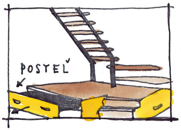 Ak nemáte miesto na spanie pre hostí, možno zhotoviť schodisko tak, aby pod ním bola posteľ na príležitostné spanie alebo na posedenie. Pohovka môže byť pevná alebo sa môže vyťahovať spolu so zásuvkou spod schodiskovej podesty.