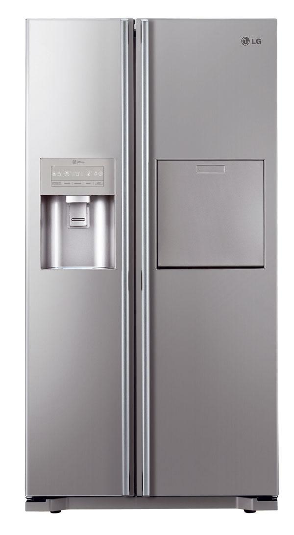 Americká chladnička side by side LG GS5162AVLZ. Energetická trieda A++, spotreba energie 344 kWh/rok (0,94 kWh/deň), objem 606 litrov (354/173 l), hlučnosť 40 dB. Dotykový LED displej, lineárny kompresor (záruka 10 rokov), Total No Frost (beznámrazová chladnička aj mraznička), Multi Air Flow (rošírené prúdenie vzduchu), BioShield (antibakteriálna ochrana tesnenia dverí), Moist Balance (udržanie optimálnej úrovne vlhkosti), Fresh 0 Zone, Vacuum Fresh, Moist Balance Crisper, Humidity Controler. Nápojový automat, interný zásobník, Slim výrobník ľadu sdrvičom, dotykový minibar, expresné mrazenie, detská zámka. Cena 1 639 €.