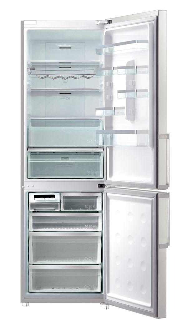 Nová kombinovaná chladnička Samsung RL586QERS série G. Energetická trieda A+++. Objem 346 litrov (231/115 l). Spotreba energie 186 kWh/rok (0,50 kWh/deň). Hlučnosť 41 dB. Digitálny invertorový kompresor asystém SmartEco optimalizujú funkcie – 7 inteligentných snímačov neustále vyhodnocuje teplotu avlhkosť, čím dochádza kúspore energie. Technológia Twin Cooling Plus – udržanie čerstvosti potravín, jednotlivé priestory chladí amrazí samostatne. No Frost, CoolSelect Zone – nastavenie teploty podľa potrieb, LED osvetlenie. Cena 1 199 €.
