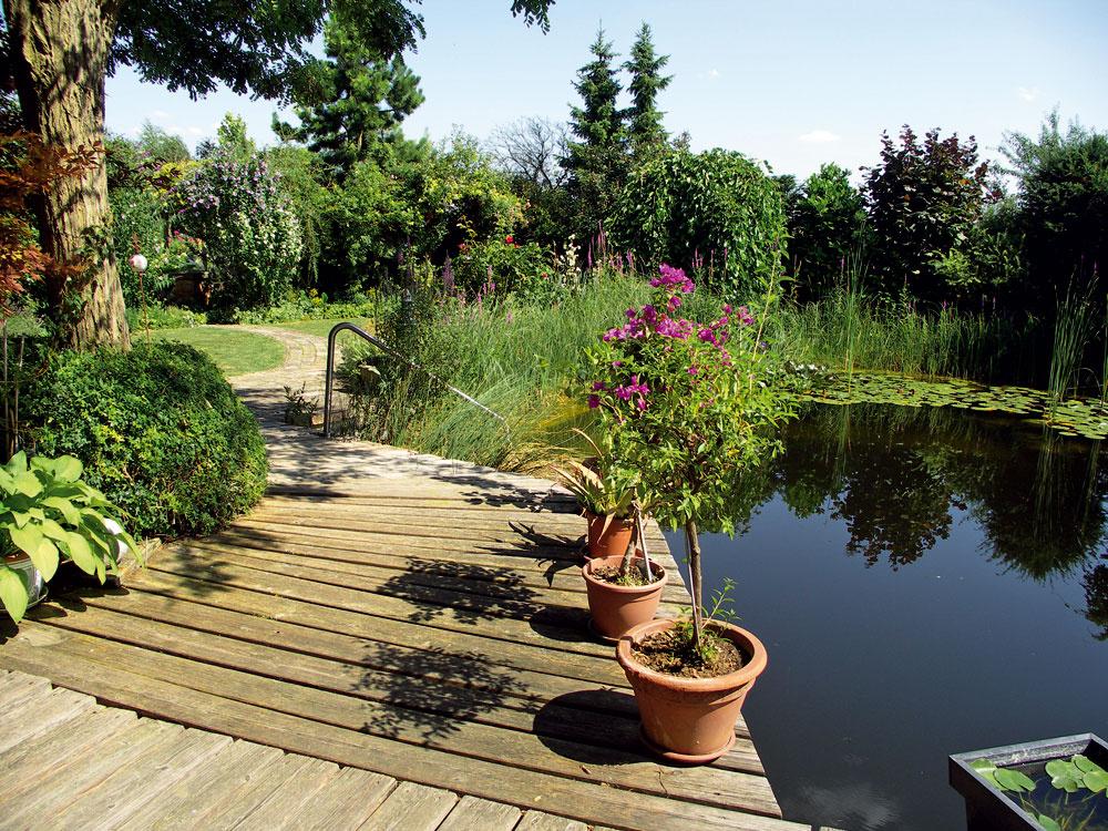 Vodná záhrada vrakúskom Mistelbachu má certifikát prírodnej záhrady. Kúpacie jazierko má hĺbku necelé 3 metre afunguje už takmer desať rokov bez chemickej úpravy vody. Apohľad zterasy domu je priam dokonalý. Zreteľne sa tu dá pozorovať, ako zrkadlenie na vodnej hladine opticky zväčšuje priestor – dĺžka záhrady je len asi 20 metrov.