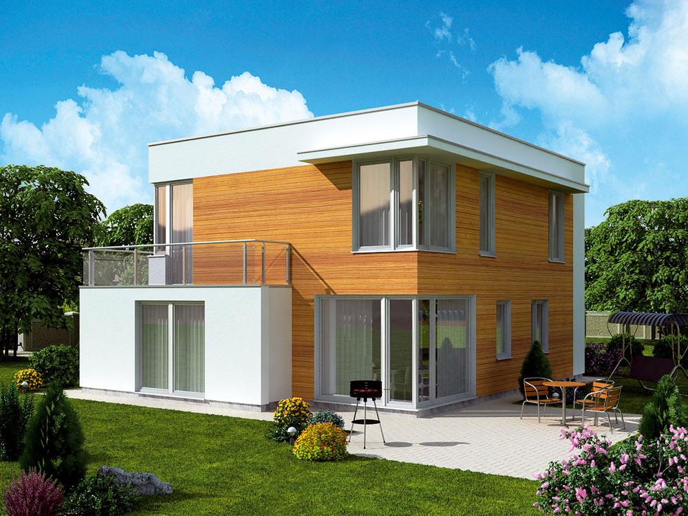 Novinkou vponuke spoločnosti Ekonomické stavby sú tri moderné domy zradu Dominik, ktorými výrobca zareagoval na preferencie klientov. Tými sú dnes najmä mladé rodiny apáry, ktoré uprednostňujú otvorené priestory, jednoduché línie apresvetlené miestnosti. Veľkosťou prostredný zdomov, Dominik 6 súžitkovou plochou 152 m2 adispozíciou 5 + kk, ponúka dostatok priestoru aj pre početnejšie rodiny sdeťmi. Centrom rodinného života je vňom otvorené prízemie, vktorom je obývacia izba prepojená skuchyňou. Rovnako súčasná ako dispozícia je aj fasáda, na ktorej sa strieda drevený obklad somietkou. Pri využití programu Génius je mesačná splátka za tento dom 627 €, celková cena je 141 000 €.