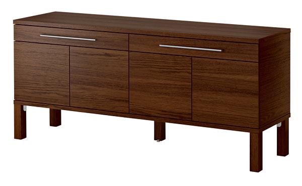 Príborník Bjursta zjaseňovej dyhy včiernohnedej farbe. Dizajn Tord Björklund. Rozmery: 155 × 40 × 68 cm. Cena 149 €. Predáva IKEA.