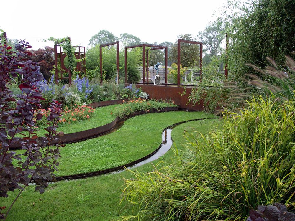 Záhrady s prvkami hrdzavého kovu