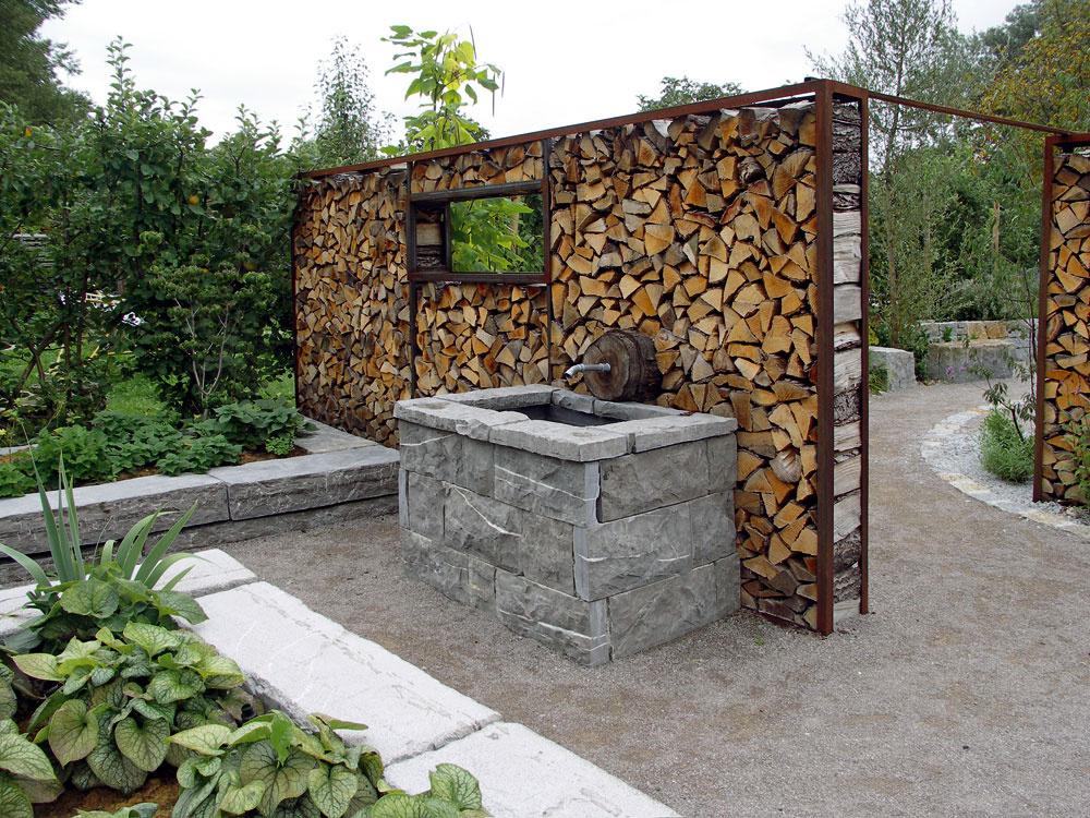 Pomocné konštrukcie adeliace steny  Dnes sa pomerne často využívajú na drevené ploty azáhradné predely steny zpohľadovo vyskladaných polien. Kovová konštrukcia je ako ich kostra najlepším riešením. Jednoduché, účelné arýchlo realizovateľné.