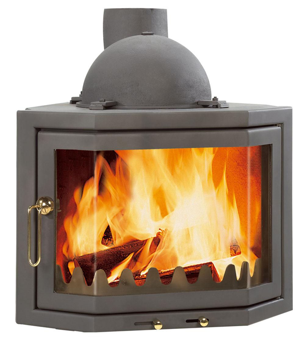 Kozubová vložka sotočným dymníkom Horná časť kozubovej vložky (takzvaná dymová komora) je otočná aumožňuje jednoduchšiu montáž. Pri napájaní na komín možno použiť menej kolien.