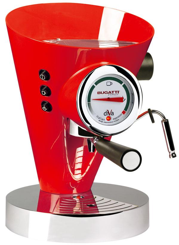 Červenú vyhľadávajú vyložení optimisti, ktorí od života očakávajú veľmi veľa. Kávovar DIVA, značka Bugatti, dokáže pripraviť lahodné espresso, kapučíno alebo latte machiato zkapsúl alebo mletej kávy. Kávovar tiež zohrieva šálky, cena 878 €