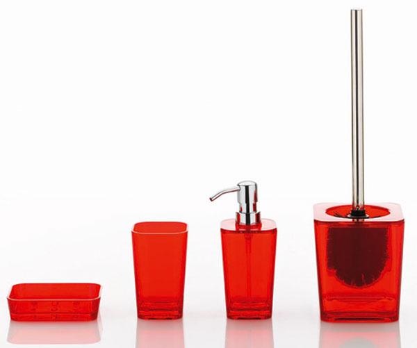 Miska na mydlo 2,69 €, pohár 2,69 €, dávkovač na mydlo 5,33€, WC kefa 12,50 €, Nábytok Galan